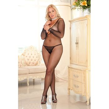 Kruisloze long sleeve visnet bodystocking