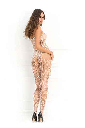Industriële visnet bodystocking (Wit)