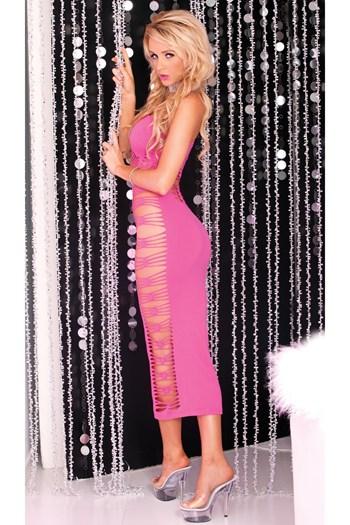 Naadloze lange jurk met uitgesneden detail (diverse) (Roze)