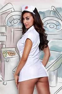Witte verpleegstersjurk met kapje (One Size)