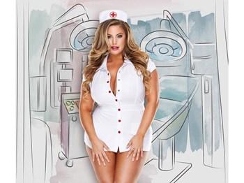 Witte verpleegstersjurk met kapje