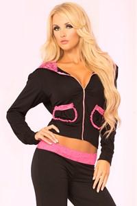 Luxe vest (zwart/roze) (M)