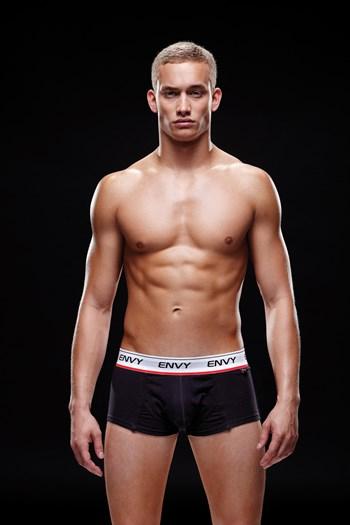 Zwarte boxer met witte band