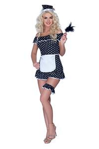 Gestippeld huishoudster kostuum (L)