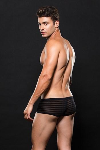 Zwarte korte boxer met doorzichtige strepen