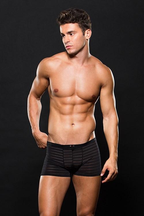 Zwarte boxer met doorzichtige strepen