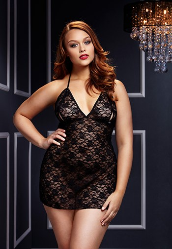 Babydoll met open cups (Queen size (XL-XXL))