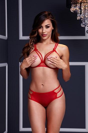 Lingerieset met open cups (Rood)