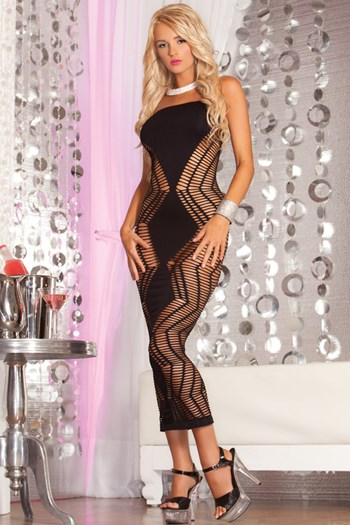 Zig-Zag naadloze lange jurk (diverse) (Zwart)