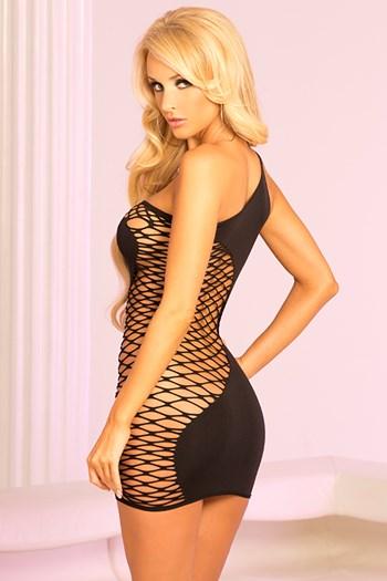 Half-net jurkje (zwart)