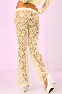 Luxe kanten lange broek (neongroen) (S)