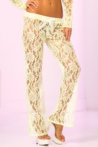 Luxe kanten lange broek (neongroen)