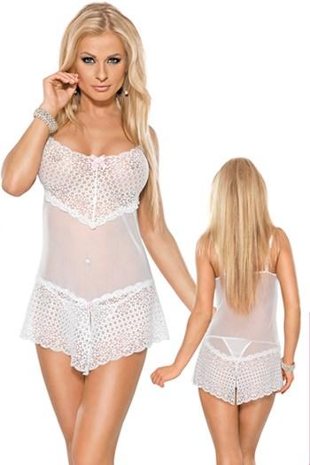 Wit jurkje met gespleten onderkant