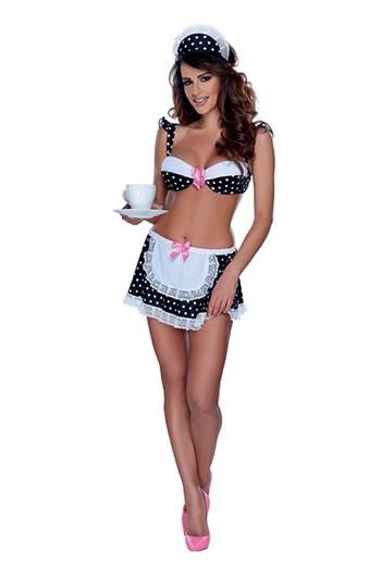 Wit gestippeld serveerster kostuum