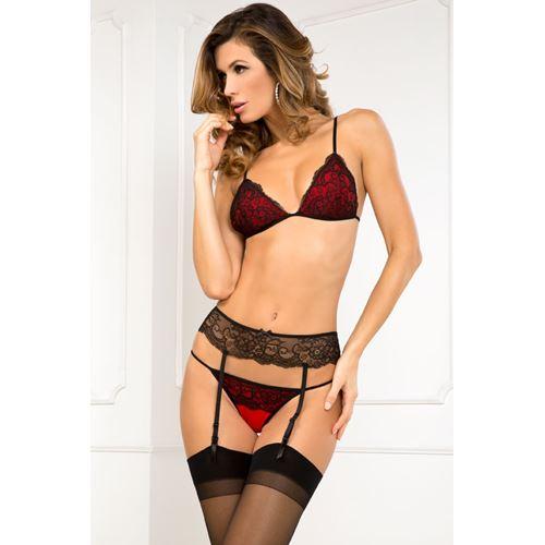 3-Delig rood/zwarte lingerie set
