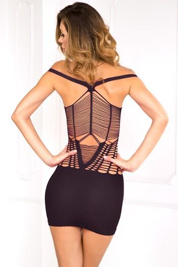 Naadloos jurkje met uitsneden (Zwart)