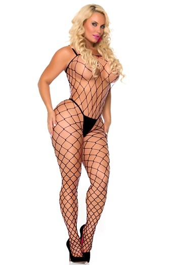 Visnet bodystocking (Zwart)
