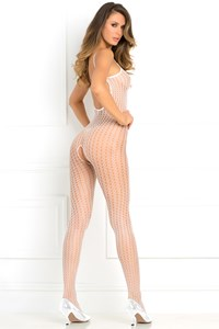 Gehaakte visnet bodystocking (Wit)