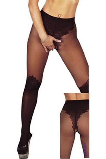 Panty met open kruis en donkere onderbenen