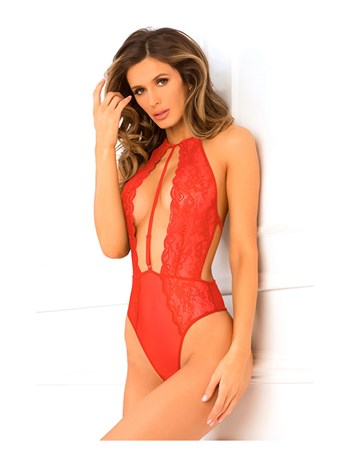 Hot Pursuit kanten bodysuit rood