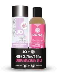 JO Agapé verwarmend glijmiddel + gratis Dona massageolie