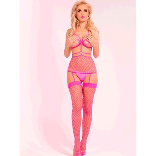 Pink Lipstick roze visnet bodystocking