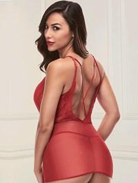 Baci rode jurk met diepe hals