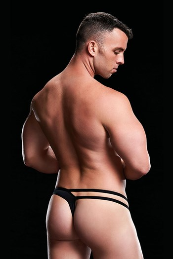 Envy Low-Rise Thong Cut-Out jockstrap (Zwart)