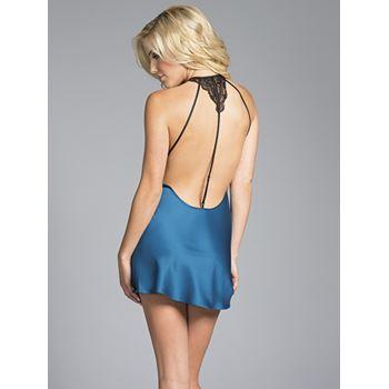 BeWicked Natalie blauwe satijnen chemise