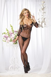 Floral kanten off shoulder bodystocking