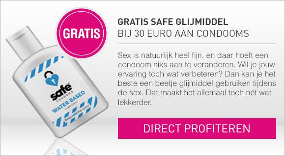 Gratis Safe Glijmiddel bij 30 euro aan condooms