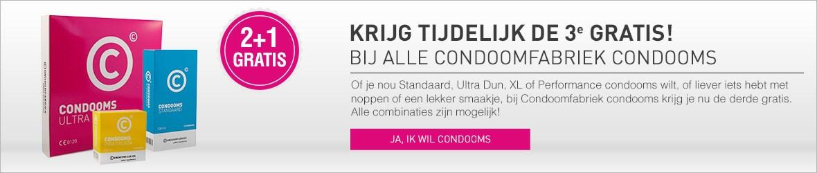 2 + 1 gratis bij Condoomabriek!