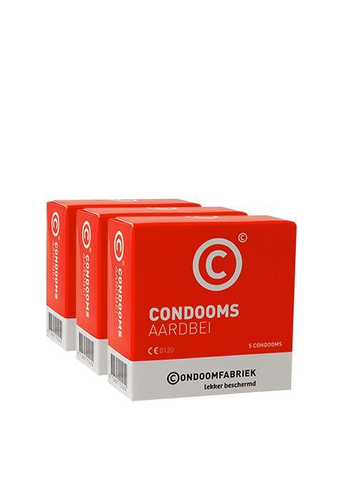 Condoomfabriek aardbei condooms voordeelpakket 15st