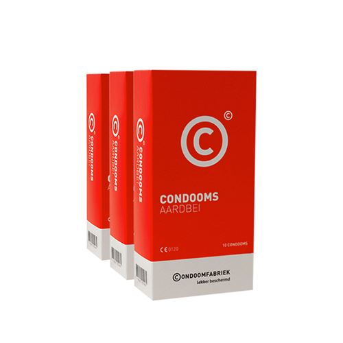 Condoomfabriek aardbei condooms voordeelpakket 30st