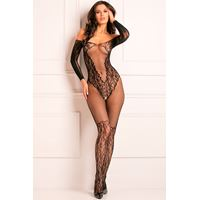 Openkruis bodystocking met ingeweven kantpatroon