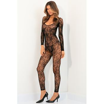 Kanten bodystocking open kruis