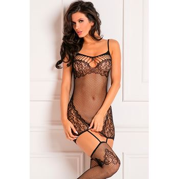 Visnet bodystocking met ingeweven kantpatronen