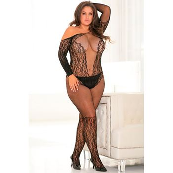 Openkruis visnet bodystocking met ingeweven kantpatroon