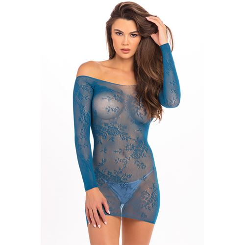 Kanten Offshoulder jurkje René Rofé blauw