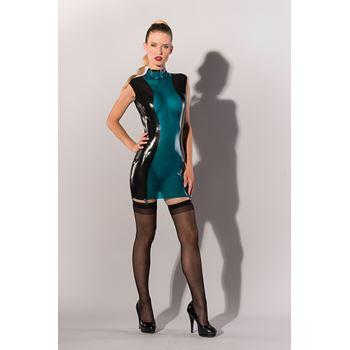 Latex jurkje blauw met zwart