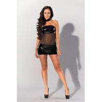 Wetlook strapless mini jurk