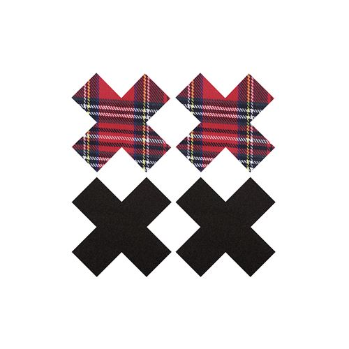 Peekabo 2 paar tepelstickers zwart en schotse ruit X