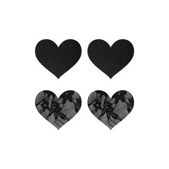 Peekabo 2 paar tepelstickers hart zwart en kant