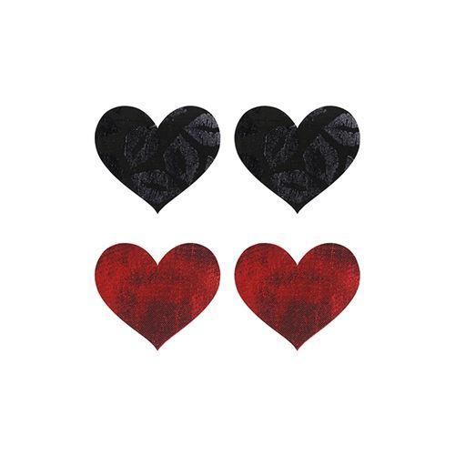 Peekaboo 2 paar tepelstickers hart rood en zwart