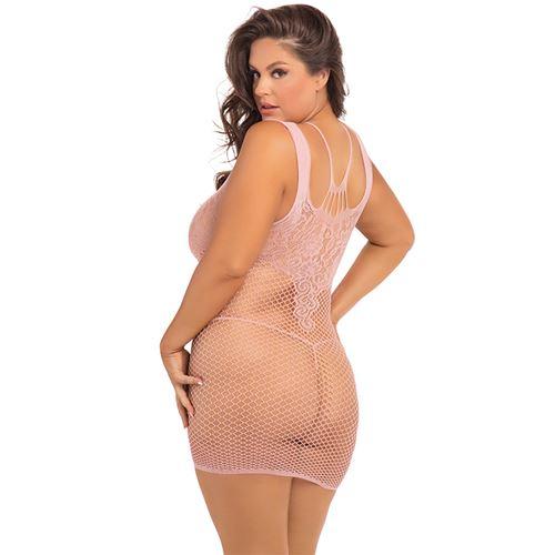 absolutist-lace-net-dress-pink-plus-size