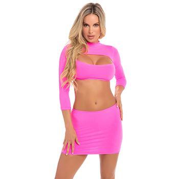 Pink Lipstick set top en rokje roze