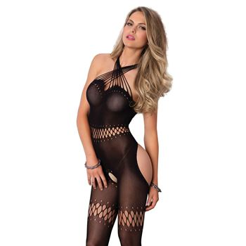 Opaque bodystocking met open kruis
