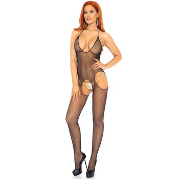 Naadloze fishnet halter bodystocking