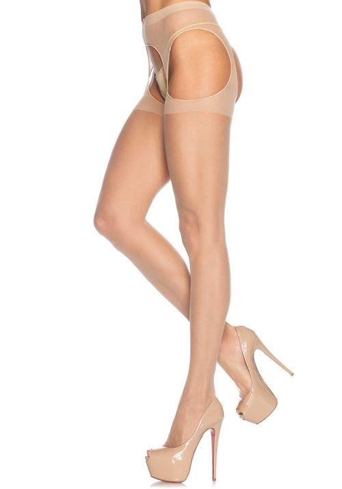 Transparante strippanty met aangehechte jarretel tailleband