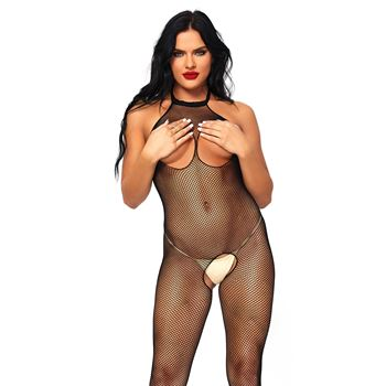 Open kruis Visnet halter bodystocking met open cups.